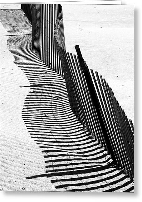 Sand Fences Greeting Cards - Wave in the  Sand Greeting Card by Doug Hockman Photography