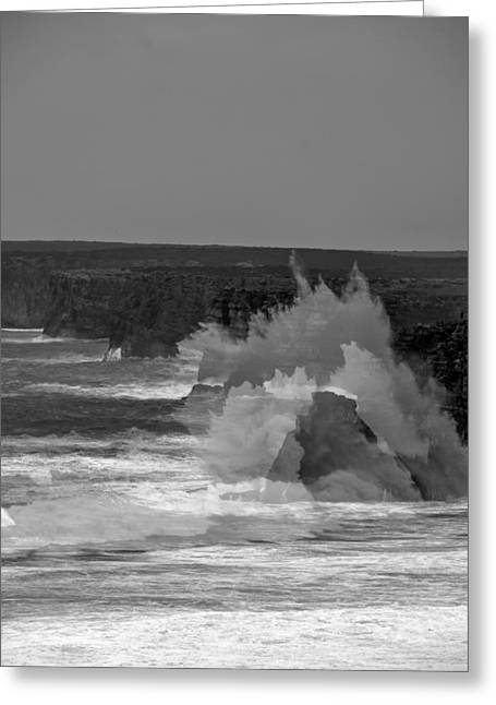 Crasning Waves Greeting Cards - Wave Overlay of Sagres Wind Storm Greeting Card by Cadence Moore