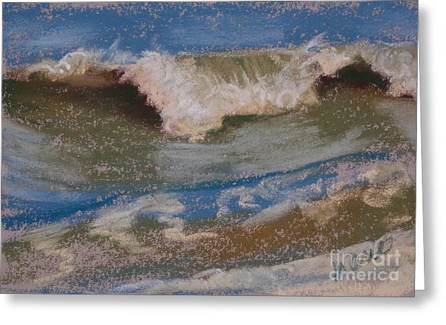 Atlantic Beaches Pastels Greeting Cards - Wave Portrait Number Six Greeting Card by Marie  Marfia