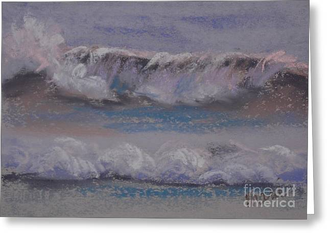 Atlantic Beaches Pastels Greeting Cards - Wave Portrait Number Ten Greeting Card by Marie  Marfia