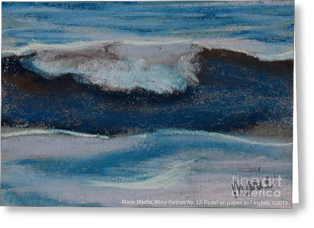 Atlantic Beaches Pastels Greeting Cards - Wave Portrait Number Twelve Greeting Card by Marie  Marfia
