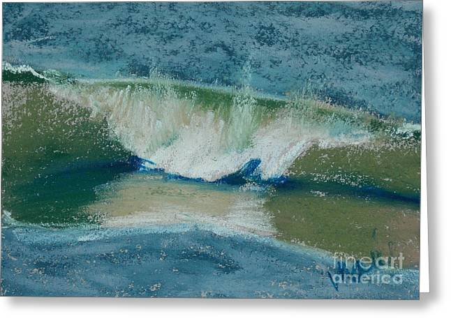 Atlantic Beaches Pastels Greeting Cards - Wave Portrait Number Twenty Greeting Card by Marie  Marfia