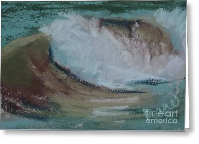 Atlantic Beaches Pastels Greeting Cards - Wave Portrait Number Twenty Two Greeting Card by Marie  Marfia