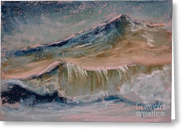 Atlantic Beaches Pastels Greeting Cards - Wave Portrait Number Two Greeting Card by Marie  Marfia