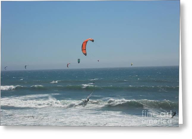 Santa Cruz Surfing Greeting Cards - Wave Surfing Greeting Card by Doug Goode