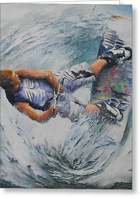Bannister Paintings Greeting Cards - Wave Warrior Greeting Card by Debra  Bannister