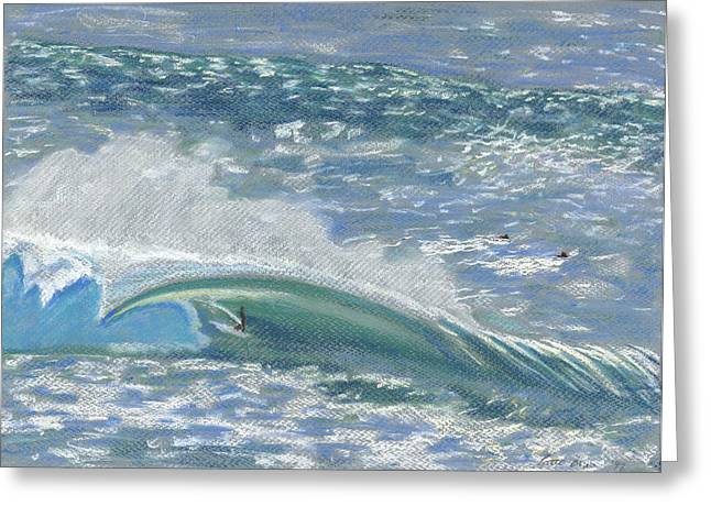 Tropical Oceans Pastels Greeting Cards - Waverider Greeting Card by Patti Bruce - Printscapes