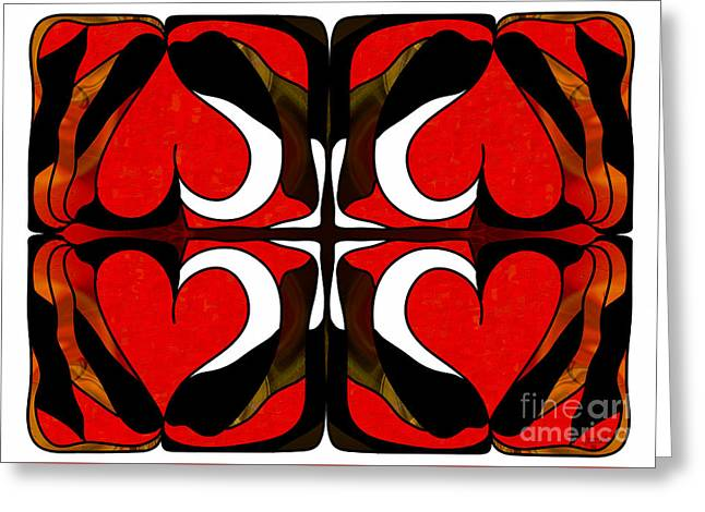 Organic Drawings Greeting Cards - Wavering Hearts Abstract Bliss Art by Omashte Greeting Card by Omaste Witkowski