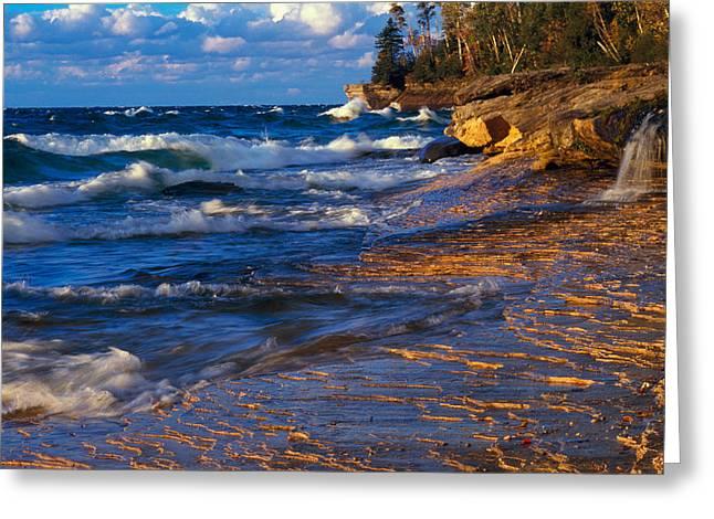 Image Repeat Greeting Cards - Waves Along Lake Michigan Shoreline Greeting Card by Panoramic Images