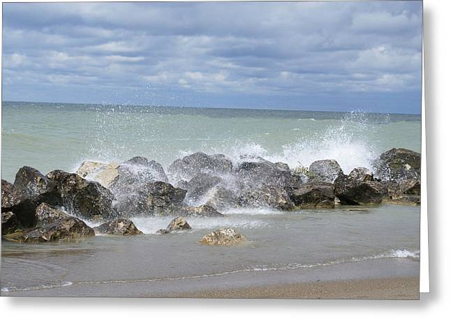 Lilly Pads Greeting Cards - Waves and Breakers at Lake Erie Beach 2 Greeting Card by Big E tv Photography