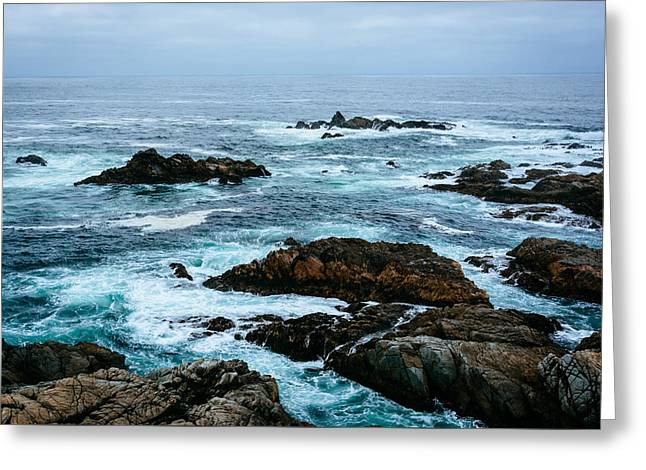 Big Sur Greeting Cards - Waves and rocks in the Pacific Ocean seen at Garrapata State Park California Greeting Card by Jon Bilous