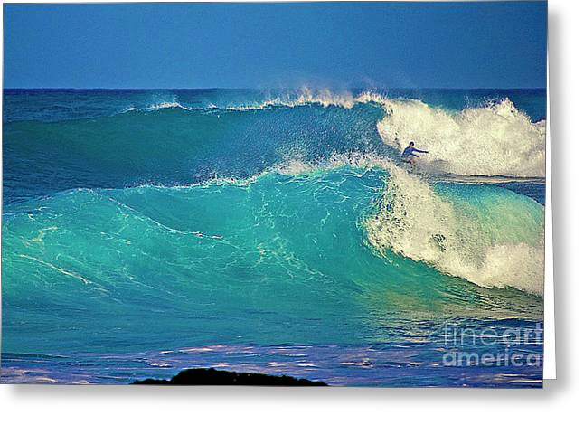 Wave Breaking Greeting Cards - Waves and Surfer in Morning Light Greeting Card by Bette Phelan