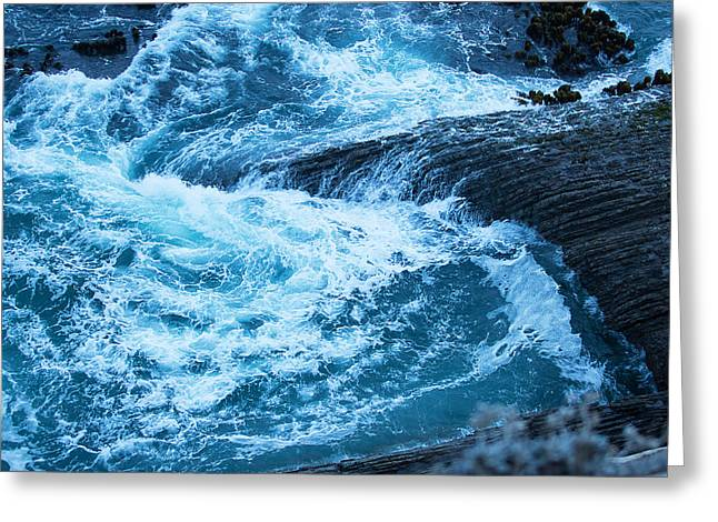 Blue Green Wave Greeting Cards - Waves at Twilight Greeting Card by Jacque The Muse Photography