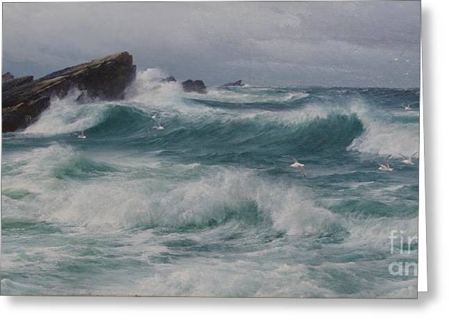 Night Angel Greeting Cards - Waves breaking on a rocky coast Greeting Card by MotionAge Designs