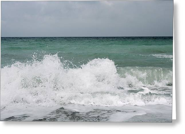 Wave Breaking Greeting Cards - Waves Breaking On Shore And Overcast Sky Greeting Card by Gillham Studios