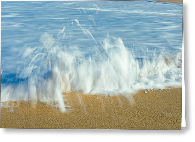 California Beach Greeting Cards - Waves Breaking On The Beach, Playa La Greeting Card by Panoramic Images
