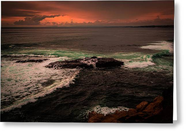 Storm Clouds Pyrography Greeting Cards - Waves Breaking over the Rocks Greeting Card by Rick Strobaugh