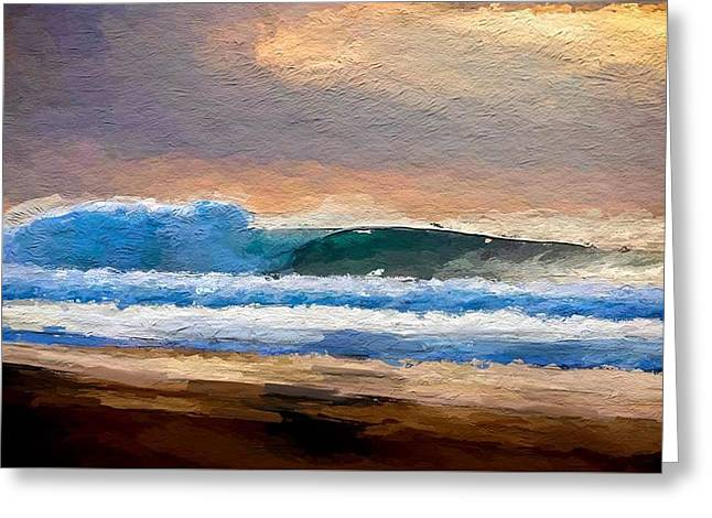 Waves By The Shore Greeting Card by Anthony Fishburne