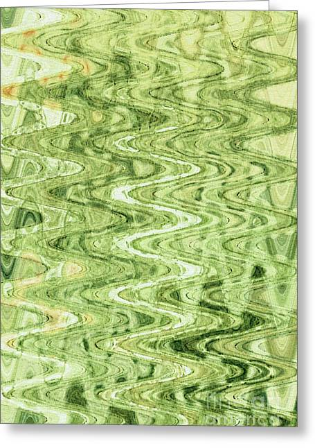 Abstract Digital Tapestries - Textiles Greeting Cards - Waves Celadon Greeting Card by FabricWorks Studio