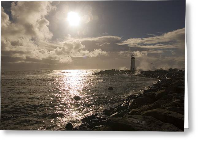 California Lighthouse Greeting Cards - Waves Crash Into A Jetty Sending Water Greeting Card by Charles Kogod