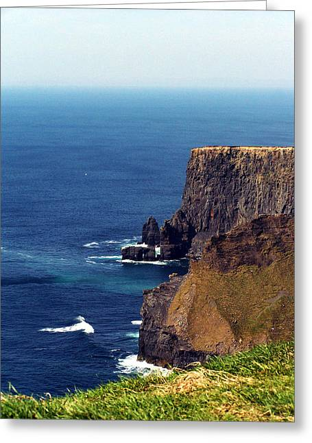 Ireland Greeting Cards - Waves Crashing at Cliffs of Moher Ireland Greeting Card by Teresa Mucha