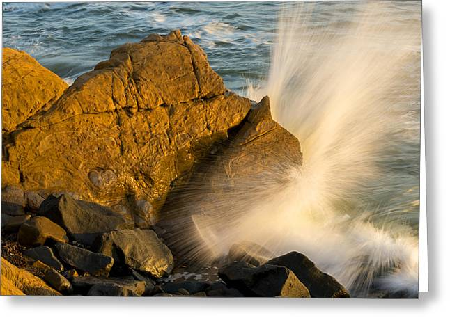 Cambria Greeting Cards - Waves Crashing on Rocks Greeting Card by Kerry Drager