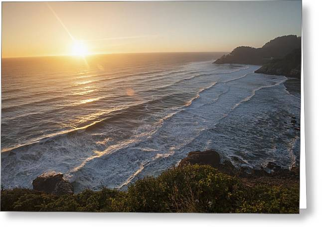 Cliffs Over Ocean Greeting Cards - Waves Lapping The Coast At Dusk Greeting Card by Remsberg Inc