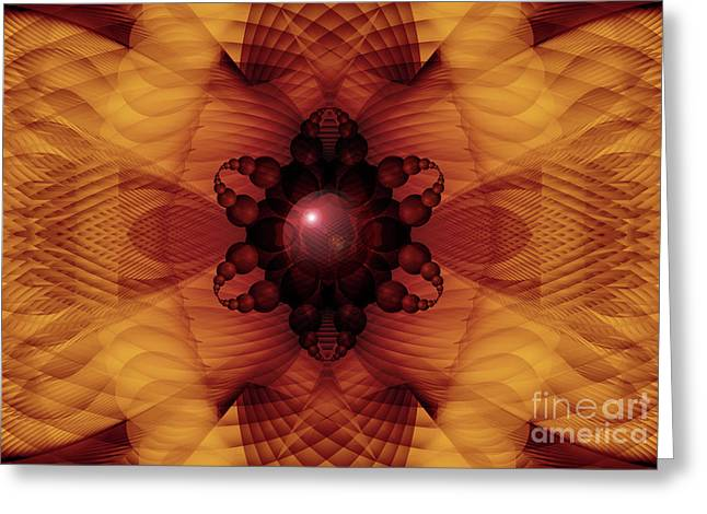 Recently Sold -  - Fractal Orbs Greeting Cards - Waves of Transformation Fractal Greeting Card by Miabella Mojica