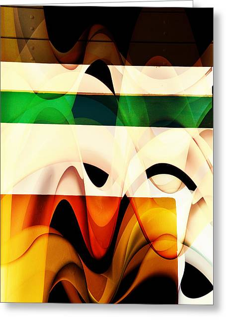 Beige Abstract Greeting Cards - Waves Greeting Card by Ricardo Dominguez