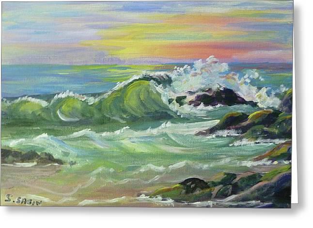 Waves Greeting Card by Saga Sabin
