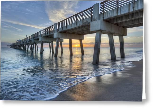 Waves Under The Pier Greeting Card by Debra and Dave Vanderlaan