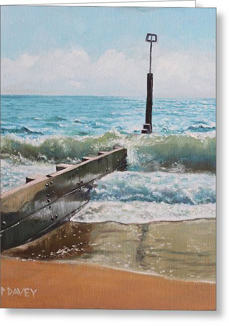 Groin Greeting Cards - Waves with beach groin Greeting Card by Martin Davey