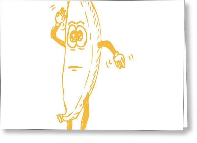 Banana Drawings Greeting Cards - Waving Banana Greeting Card by Karl Addison