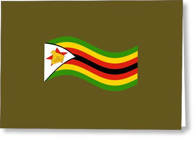 Waving Zimbabwe Flag Greeting Card by Frederick Holiday