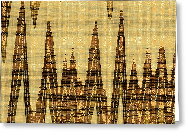 Wavy Golden Abstract Greeting Card by Gaspar Avila