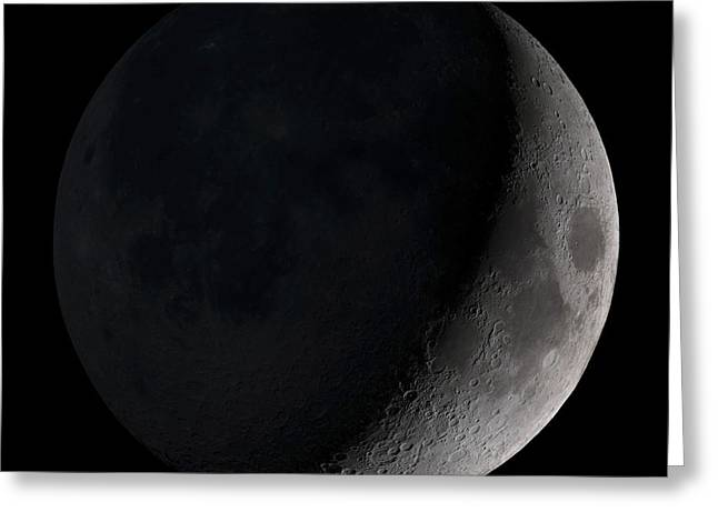 Craters Greeting Cards - Waxing Crescent Moon Greeting Card by Stocktrek Images