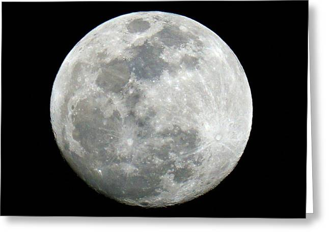 Space Photographs Greeting Cards - Waxing Gibbous 96 Percent Illumination Greeting Card by David G Paul