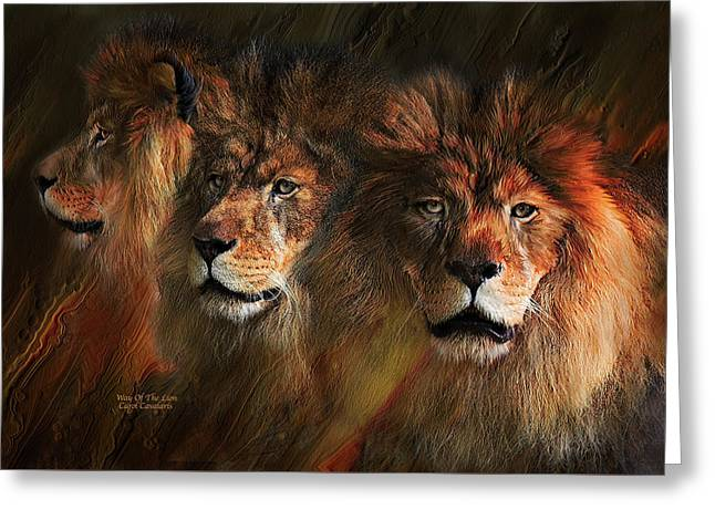 African Lion Art Greeting Cards - Way Of The Lion Greeting Card by Carol Cavalaris