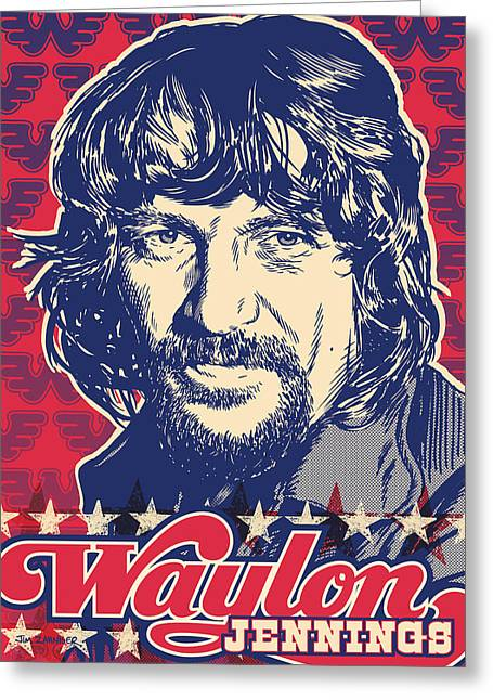 Willie Greeting Cards - Waylon Jennings Pop Art Greeting Card by Jim Zahniser