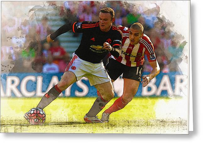Wayne Rooney Is Marshalled Greeting Card by Don Kuing