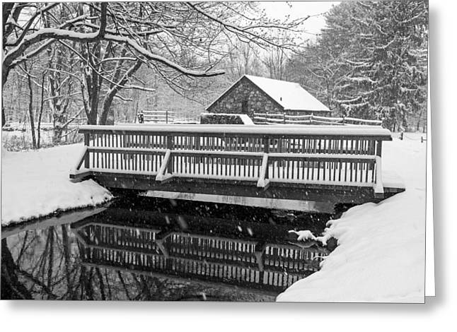 Wayside Inn Grist Mill Covered In Snow Bridge Reflection Black And White Greeting Card by Toby McGuire