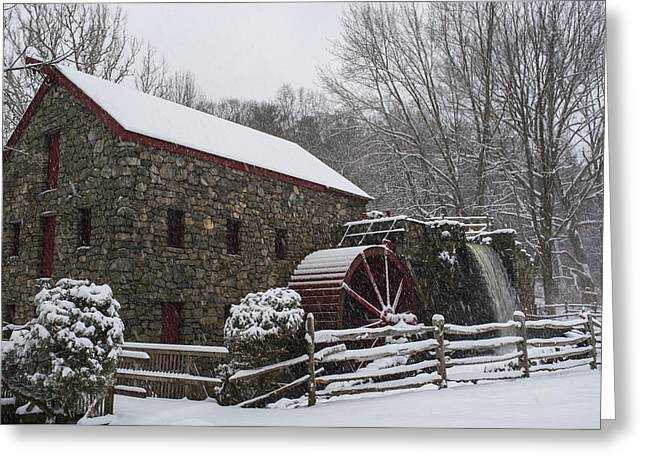 Wayside Inn Grist Mill Covered In Snow Fence Greeting Card by Toby McGuire