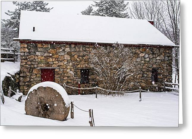 Wayside Inn Grist Mill Covered In Snow Millstone Greeting Card by Toby McGuire