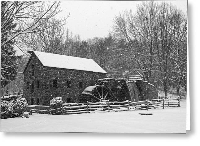 Wayside Inn Grist Mill Covered In Snow Storm Black And White Greeting Card by Toby McGuire