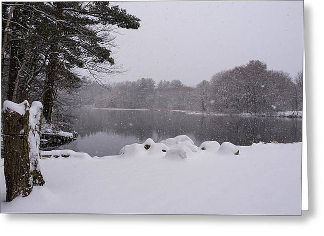 Wayside Inn Grist Mill Covered In Snow Storm Pond Greeting Card by Toby McGuire