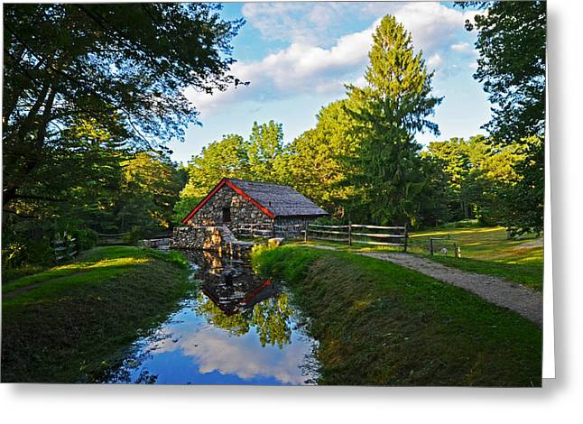 Sudbury Greeting Cards - Wayside Inn Grist Mill Reflection Greeting Card by Toby McGuire