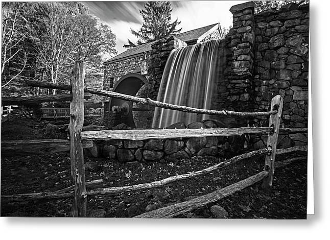 Wayside Inn Grist Mill Waterfall Sudbury Ma Black And White Greeting Card by Toby McGuire