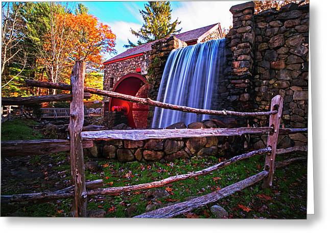 Wayside Inn Grist Mill Waterfall Sudbury Ma Greeting Card by Toby McGuire
