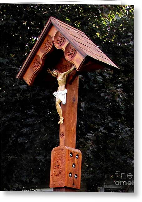 Wayside Cross Greeting Cards - Wayside Shrine Greeting Card by John Swencki
