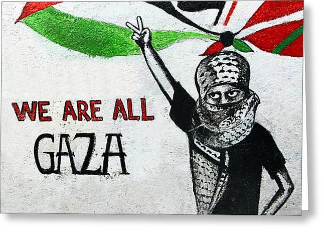 Gaza Greeting Cards - We Are All Gaza Greeting Card by Munir Alawi